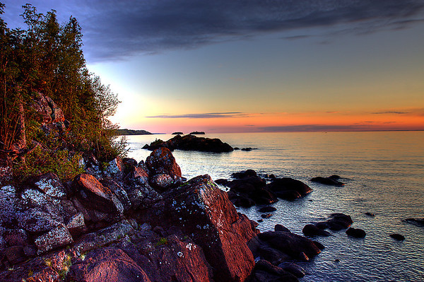 Sunset along the Isle Royale Shore