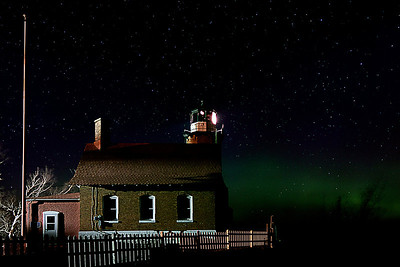 Eagle Harbor Light with Aurora Glow